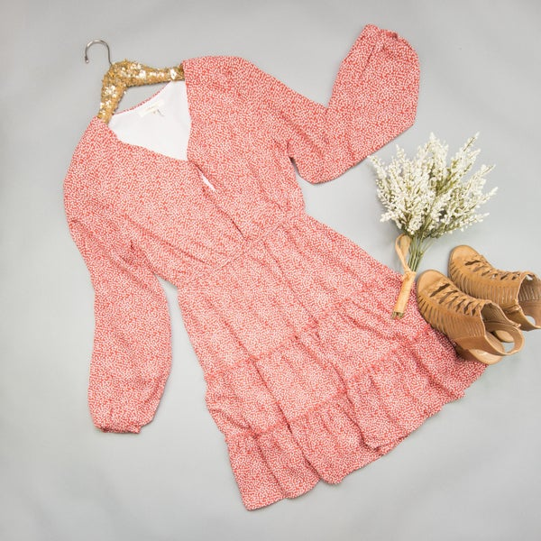 Rust Ruffle Dress *ALL SALES FINAL*