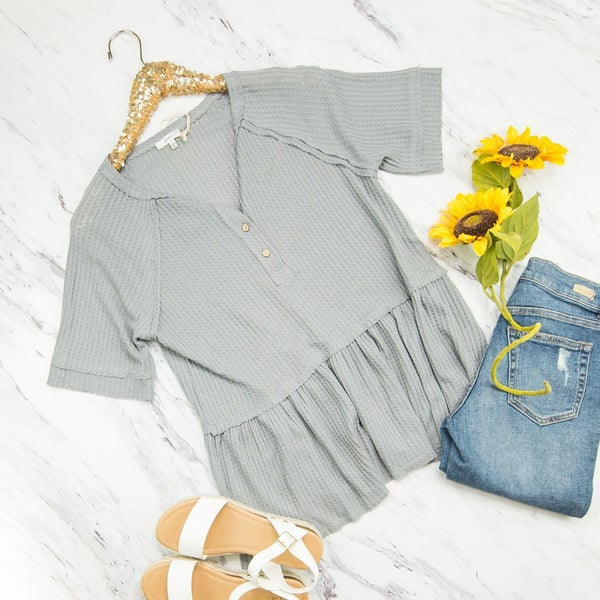 Gray Waffle Button Top