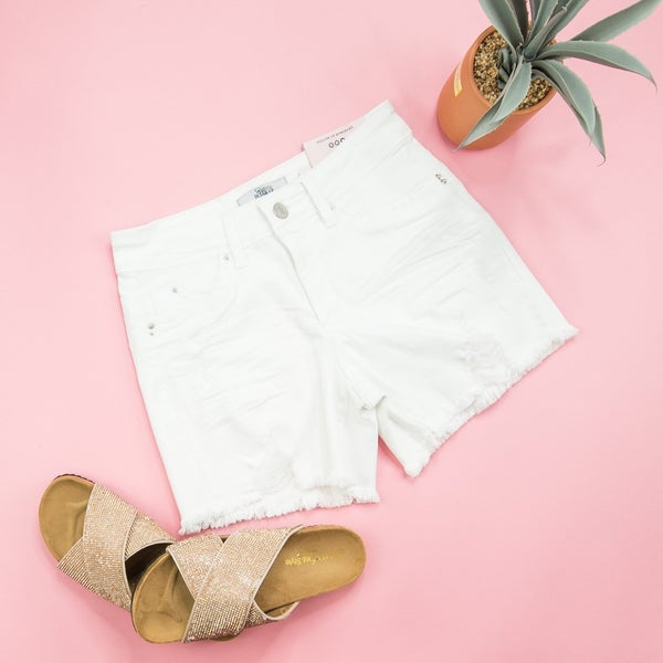 White YMI Distressed Shorts *all sales final*