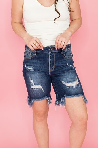 Fringe Out Cello Dark Denim Shorts