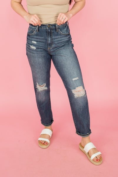 Sneak Peek High Rise Distressed Denim