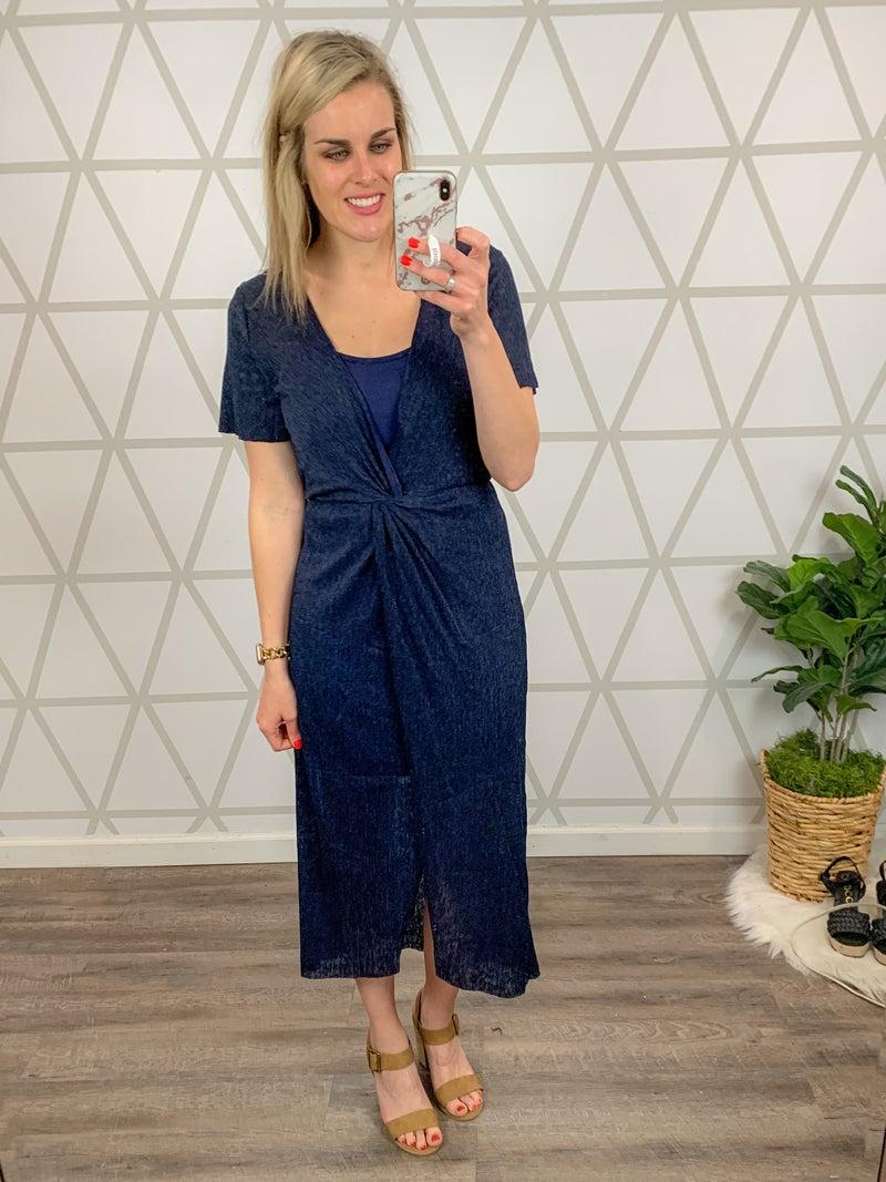 Elegant Twist Navy Dress *all sales final*