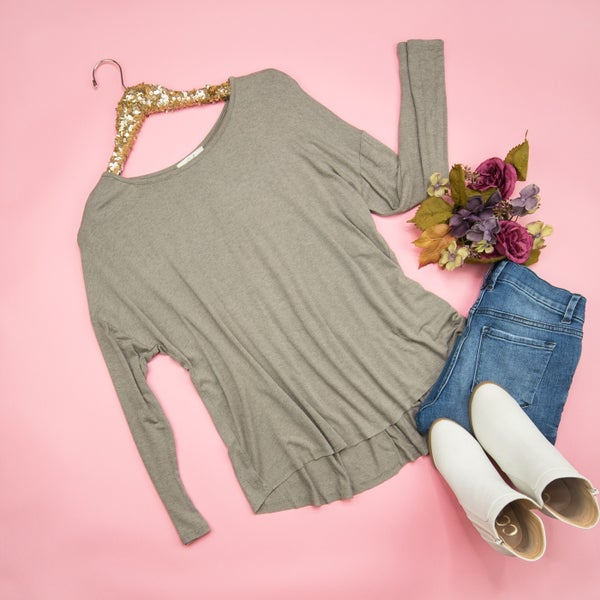 Taupe Long Sleeve Basic *ALL SALES FINAL*
