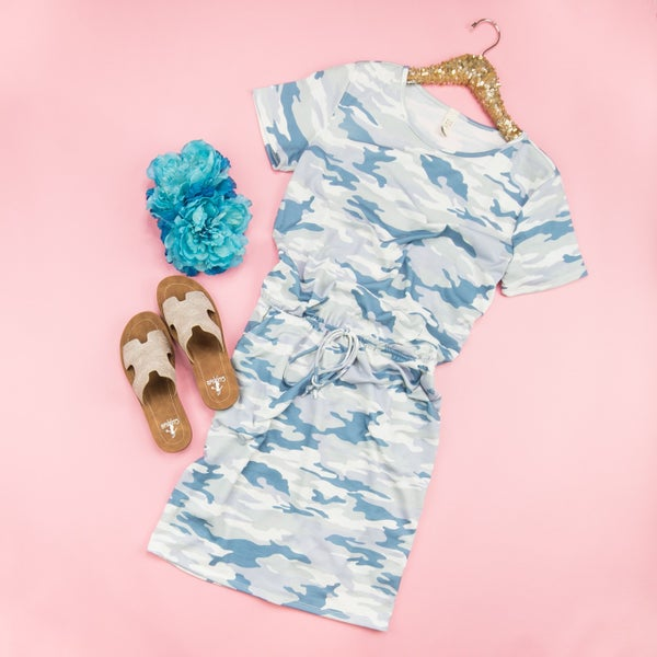 Blue Camo T-Shirt Dress