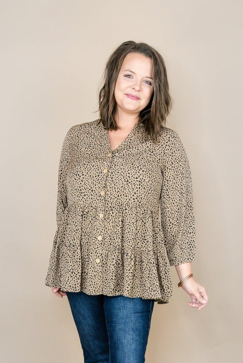 Mocha Leopard Button Blouse