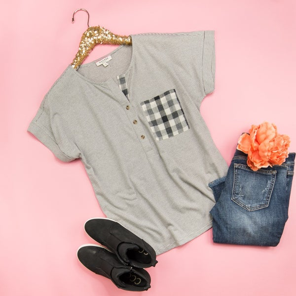 Plaid in My Pocket Tee