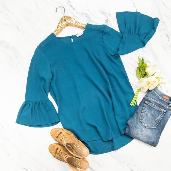 Bell Sleeve Teal Blouse