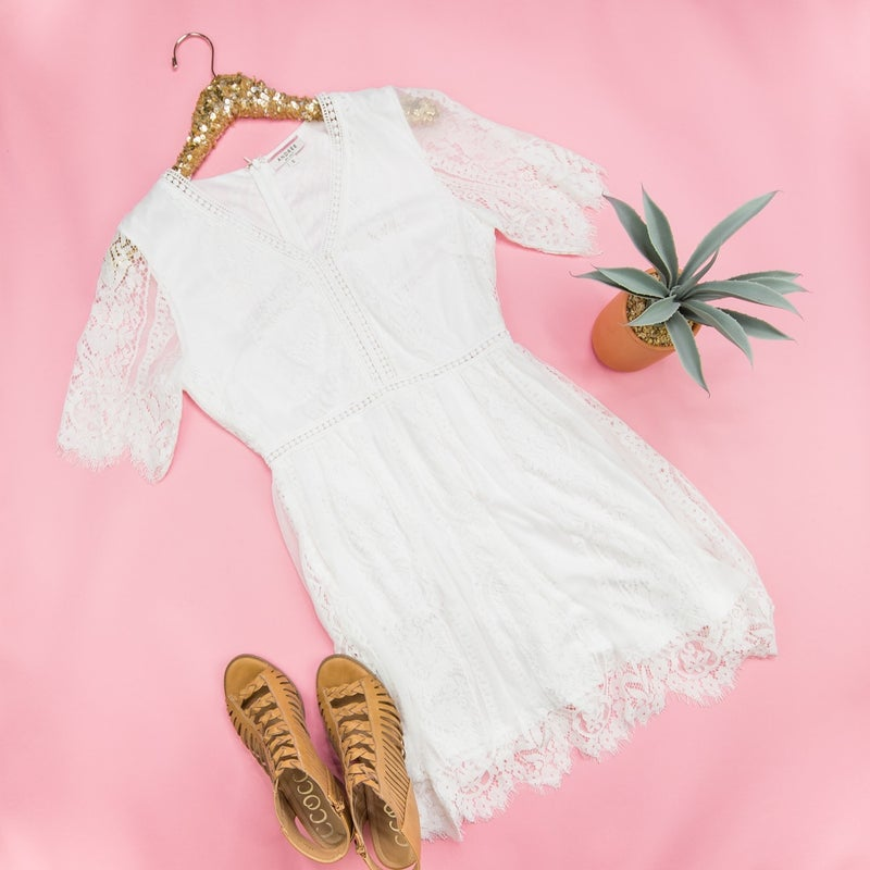 Buttons & Lace Ivory Dress *all sales final*
