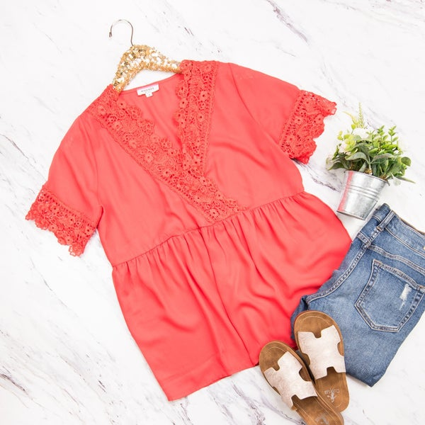 Fancy Red Lace Blouse *all sales final*