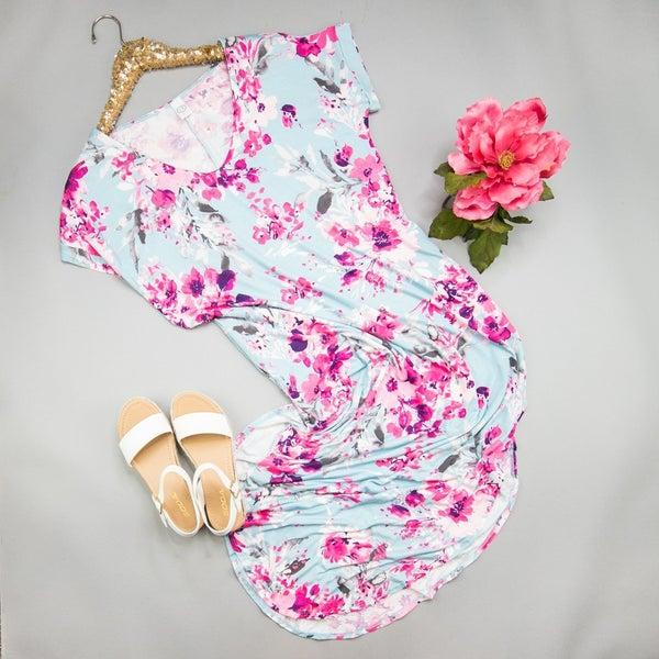 Summer Blue Floral Maxi