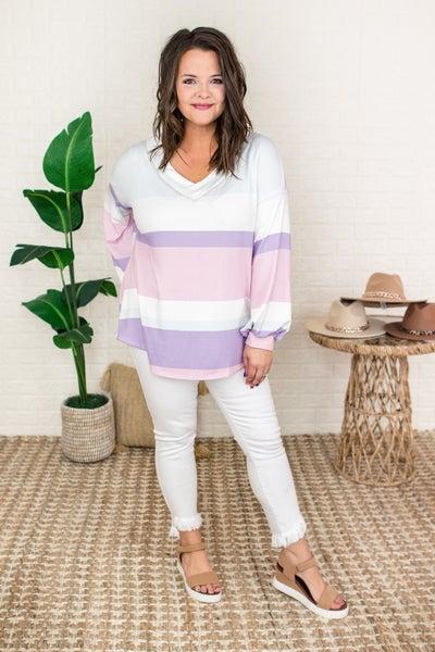 Lavender Stripe Top