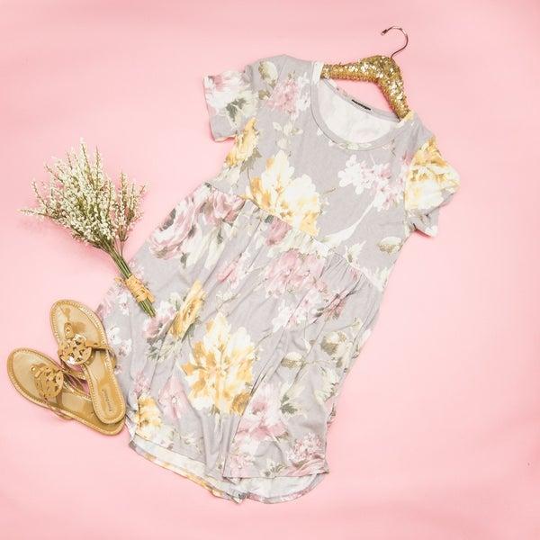 Muted Lavender Floral Peplum Dress