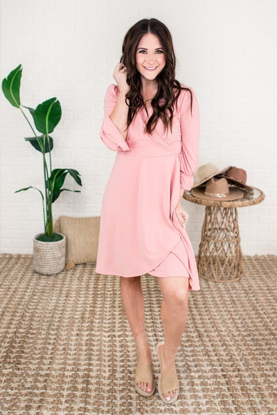 Blush Layover Wrap Dress