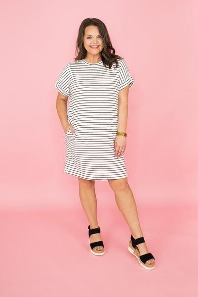 Boyfriend Fit Striped Dress