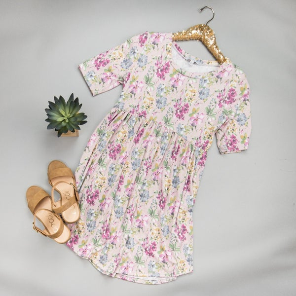 Muted Floral Print Dress *all sales final*