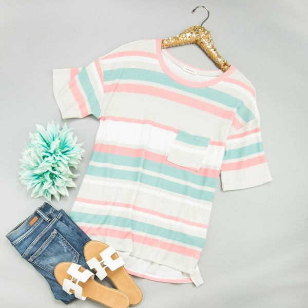 Cozy In Spring Striped Tee *all sales final*
