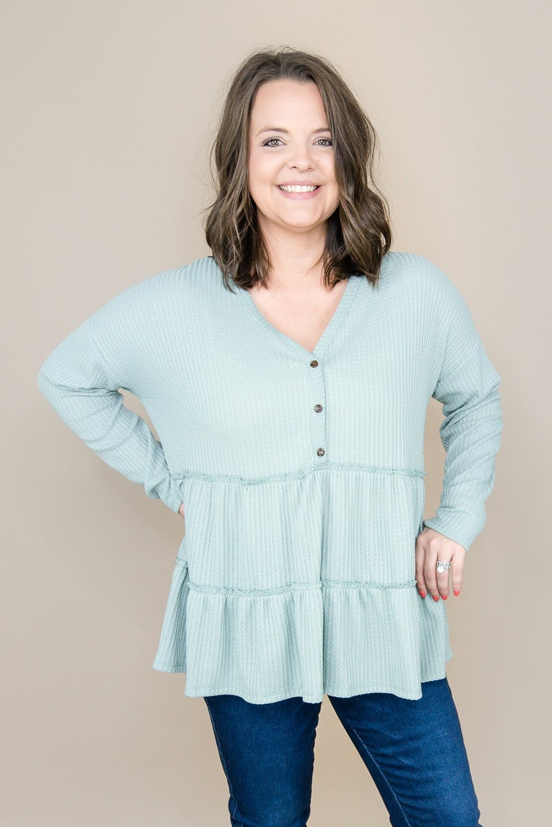 Sage Waffled Button Top