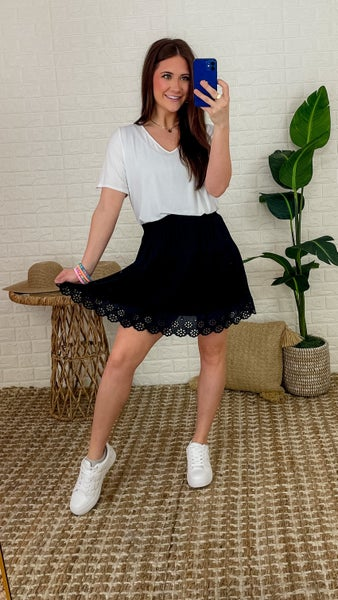 Eyelet Trim Ruffle Skirt