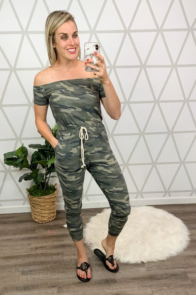Flattering Camo Jumpsuit *all sales final*