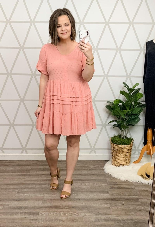 Peach Swiss Dot Dress