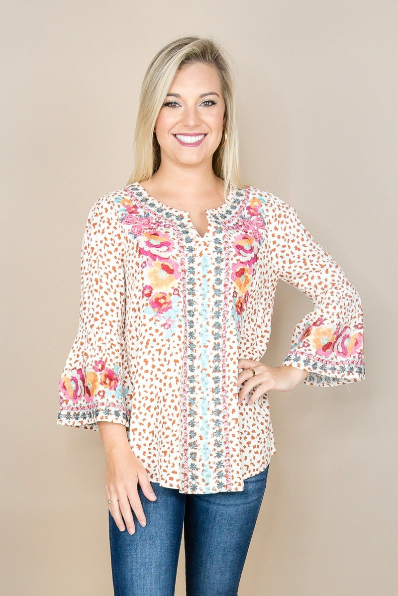 Spotty Embroidered Blouse