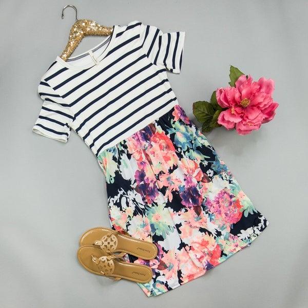 Stripe Floral Dress