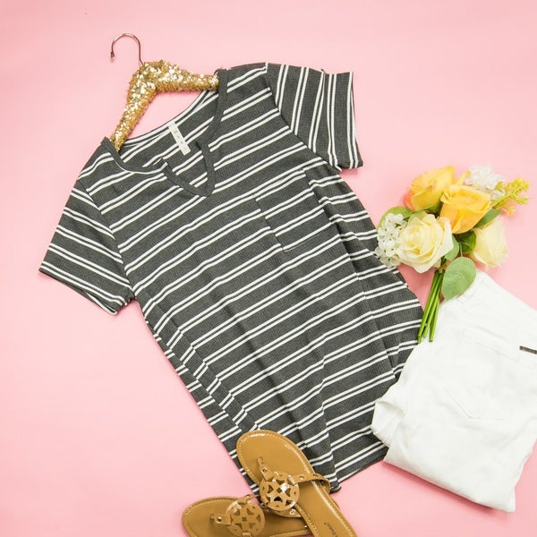 Charcoal Striped Tee *all sales final*