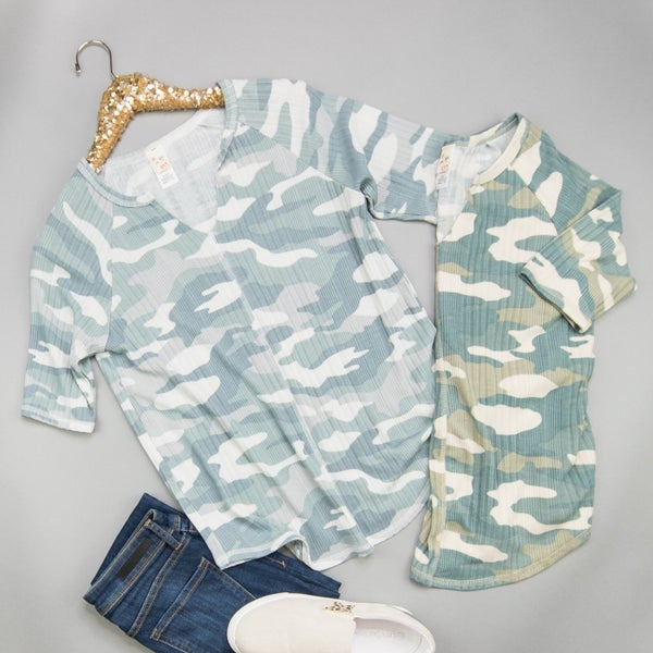 Ribbed Camo Top