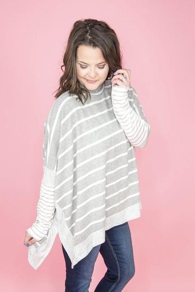 Gray Stripes Poncho Top *all sales final*