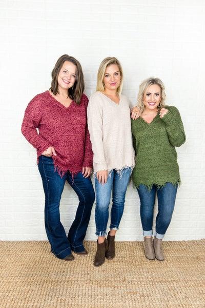 Fall Distressed Sweater
