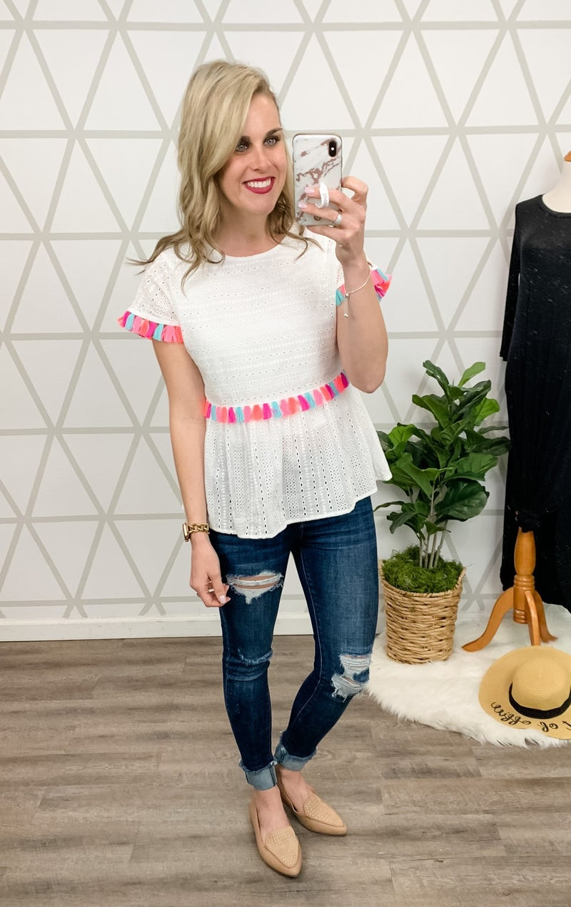 Rainbow Tassel Blouse