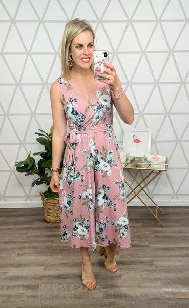 Mauve Floral Jumpsuit *all sales final*