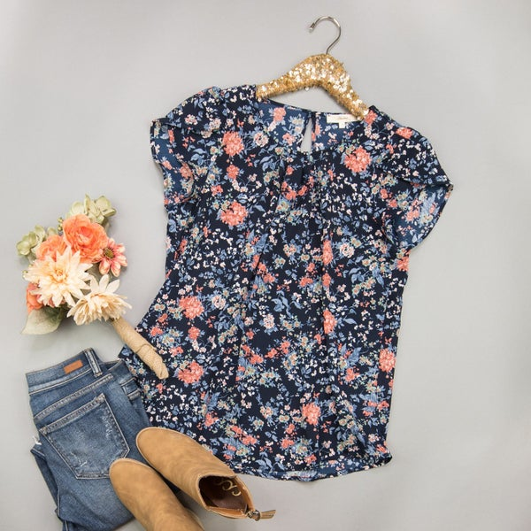 Navy & Florals Blouse