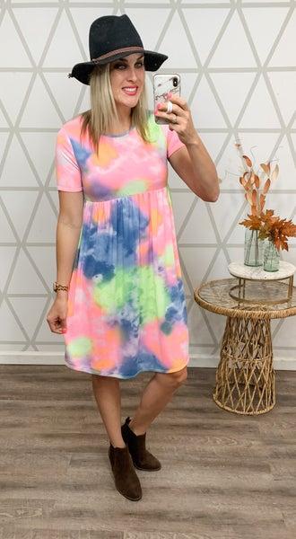 Bright Peplum Dress *all sales final*