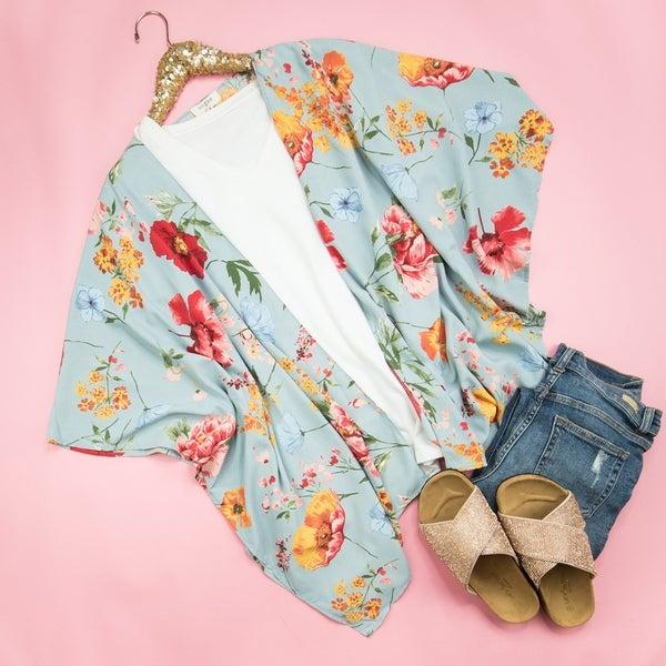 Cool Grey Floral Kimono