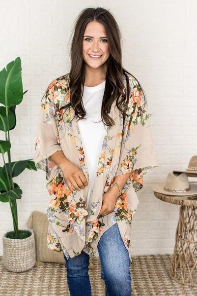 Tan Floral Kimono