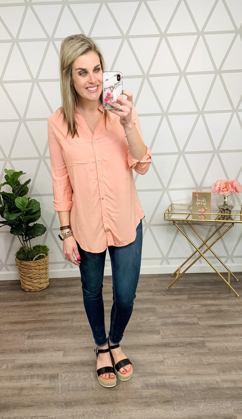 Simply Peach Blouse *ALL SALES FINAL*s