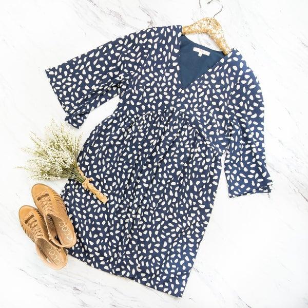 Navy Chip Dress *all sales final*
