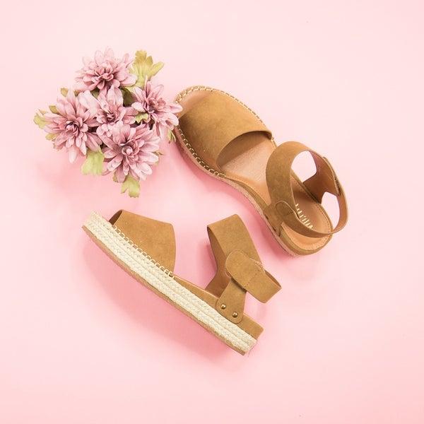 Mocha Suede Platform Sandals