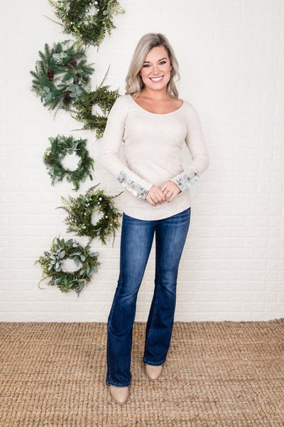 Oatmeal Button Ruffle Long Sleeve