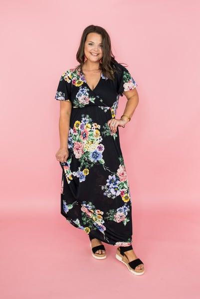 Black Floral Layover Maxi
