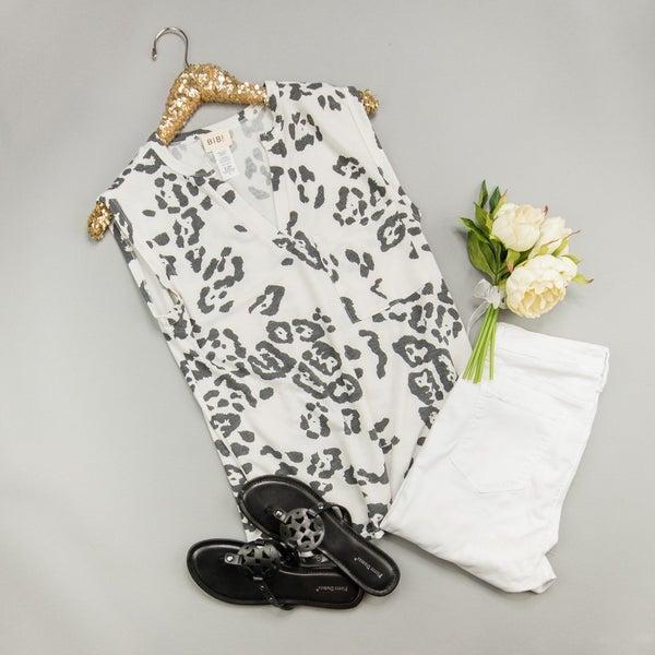 Simple Gray Leopard Blouse