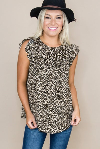 Taupe Dots Blouse *all sales final*