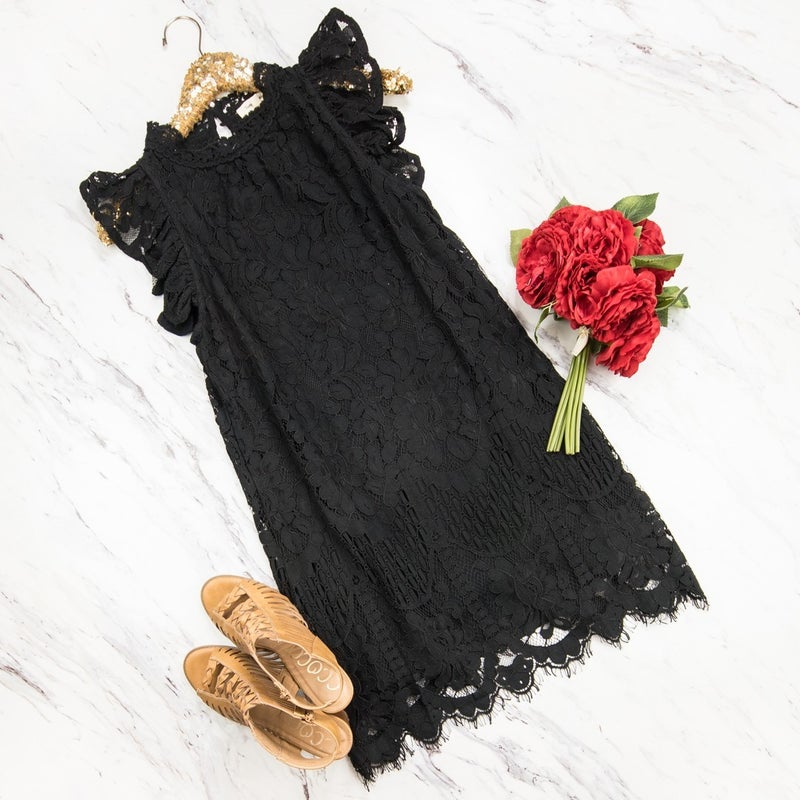 Dainty Lace Black Dress *all sales final*