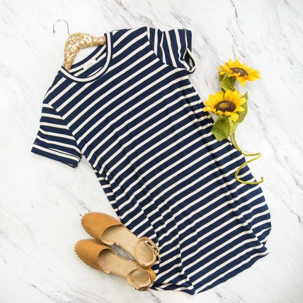 Navy & Cream Boyfriend Dress