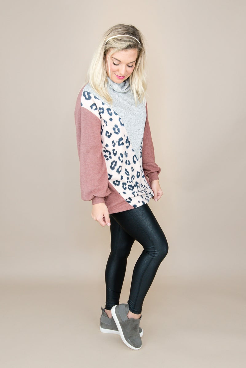 Rust Leopard Cowl Top