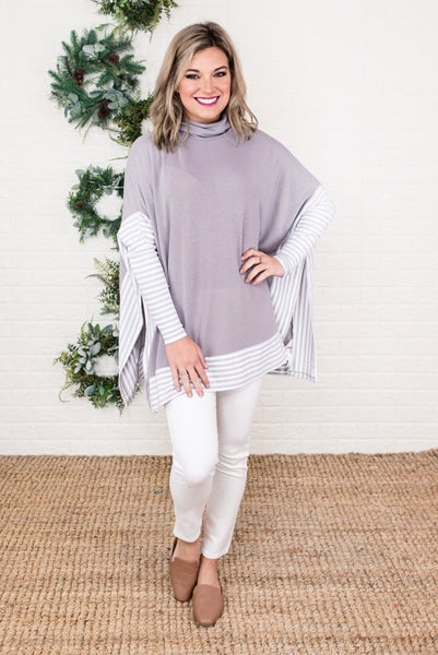 Shade of Gray Poncho Top *all sales final*