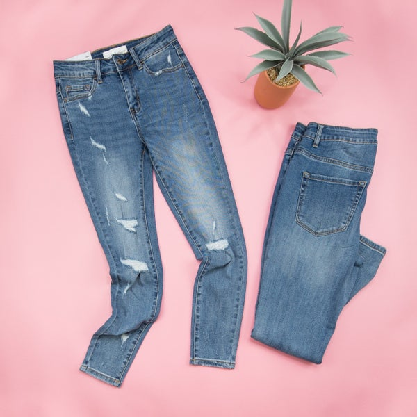 Vervet Mid Rise Distressed Denim
