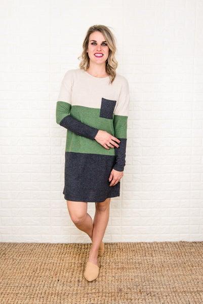 Olive Block Winter Dress *all sales final*