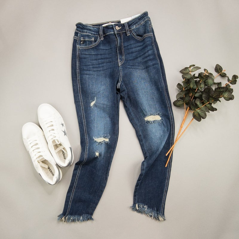 KanCan High Rise Fringe Denim